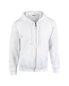 Gildan Full Zip Hooded Sweatshirt 18600 - White
