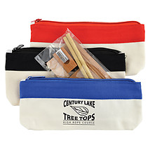 Bamboo Stationery Set In Cotton  Canvas Organiser  Pencil Case