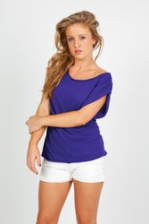 Ramo Ladies Distressed Rib Neck Tee