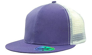 Bright Flat peak Trucker with White Mesh