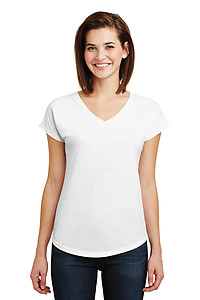 Anvil 6750VL Tri-Blend Ladies V-Neck Tee - White